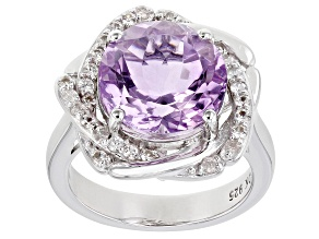 Purple Amethyst Rhodium Over Silver Ring 5.96ctw