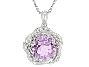 Purple Amethyst Rhodium Over Silver Pendant With Chain