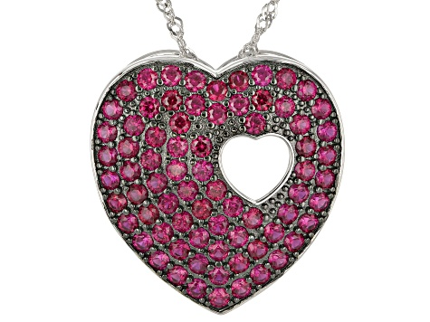 "Red Lab Created Ruby Rhodium Over Silver ""Piece of My Heart"" Pendant With Chain 2.73ctw"