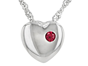 Red Lab Created Ruby Rhodium Over Silver Heart Shape Children's Pendant With Chain .04ct