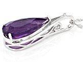 Purple Amethyst Rhodium Over Sterling Silver Pendant With Singapore Chain 7.37CTW
