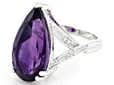 Purple Amethyst Rhodium Over Sterling Silver Ring 7.41ctw