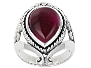 Pink Tiger's Eye Sterling Silver Solitaire Ring
