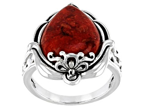 Red Sponge Coral Sterling Silver Solitaire Ring