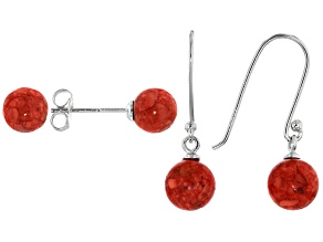 Red Coral Rhodium Over Sterling Silver Earring Set