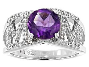 Purple Amethyst Rhodium Over Silver
