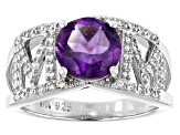 Purple Amethyst Rhodium Over Silver