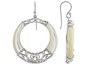 White Mother-of-pearl Rhodium Over Sterling Silver Dangle Earrings
