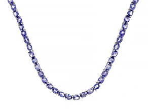 Blue Tanzanite Rhodium Over Sterling Silver Necklace 13.09ctw