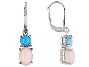 Pink Opal Rhodium Over Sterling Silver Earrings