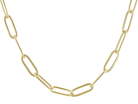 "18k Yellow Gold Over Stainless Steel Oval Link 18"" Necklace"