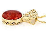 Red Sponge Coral 18K Yellow Gold Over Sterling Silver Pendant With chain