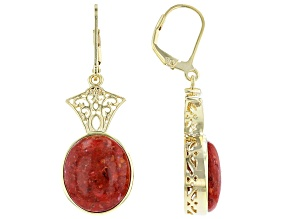 Red Sponge Coral 18K Yellow Gold Over Sterling Silver Dangle Earrings