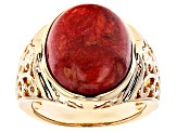 Sponge Red Coral 18k Yellow Gold Over Sterling Silver Ring