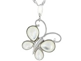 White Mother-of-Pearl Rhodium Over Silver Butterfly Pendant with Chain
