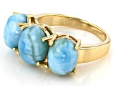 Blue Larimar 18k Yellow Gold Over Silver 3-Stone Ring