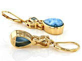 Blue Larimar 18k Gold Over Silver Earrings 0.26ctw