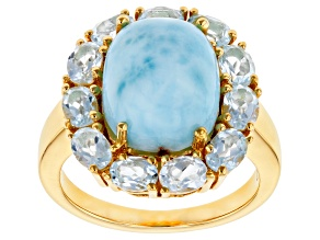 Blue Larimar 18k Yellow Gold Over Sterling Silver Ring 2.24ctw
