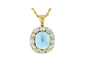 Blue Larimar 18k Gold Over Silver Pendant With Chain 2.24ctw