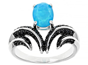 Picture of Paraiba Blue Opal Rhodium Over Sterling Silver Ring 0.80ctw