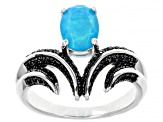 Blue Opal Rhodium Over Sterling Silver Ring 0.80ctw
