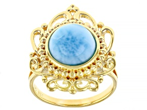 Blue Larimar 18k Yellow Gold Over Sterling Silver Solitaire Ring