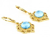 Blue Larimar 18k Yellow Gold Over Sterling Silver Dangle Earrings