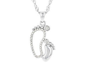 White zircon rhodium over sterling silver Mother and Baby pendant with chain 0.29ctw