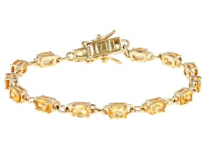 Yellow Citrine 18k Gold Over Silver Tennis Bracelet 6.80ctw