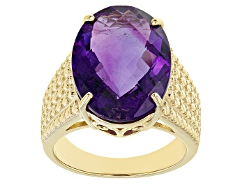 Picture of Purple Amethyst 18k Yellow Gold Over Silver Ring 11.00ct
