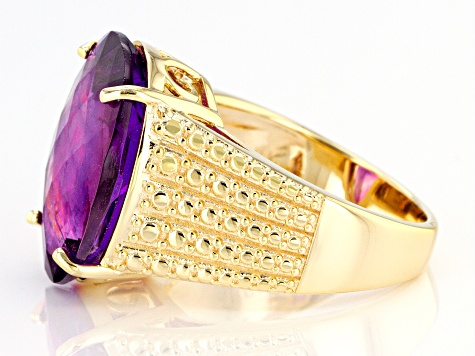 Purple Amethyst 18k Yellow Gold Over Silver Ring 11.00ct