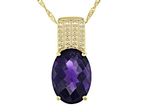 Purple Amethyst 18k Gold Over Silver Pendant With Chain 11.00ct