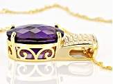 Purple Amethyst 18k Yellow Gold Over Silver Pendant With Chain 11.00ct