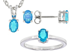 Blue Opal Rhodium Over Silver Ring, Earrings And Pendant With Chain Set 1.02ctw
