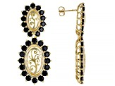 Black spinel 18k yellow gold over sterling silver dangle earrings 6.22ctw