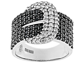Black Spinel Rhodium Over Silver Buckle Ring 1.96ctw