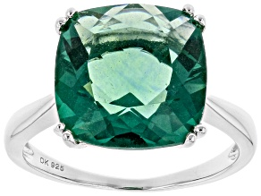 Green Fluorite Rhodium Over Sterling Silver Ring 7.41ct