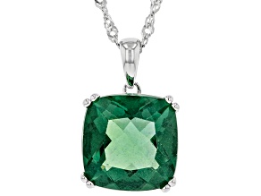 Green Fluorite Rhodium Over Silver Pendant With Chain 7.41ct