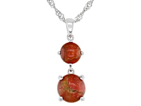 Red Coral Rhodium Over Silver 2-stone Pendant With Chain
