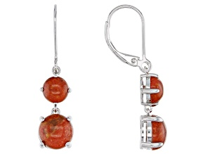 Red Coral Rhodium Over Sterling Silver Earrings
