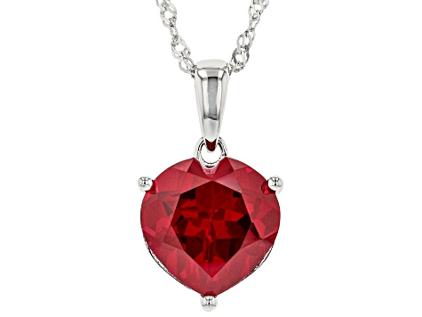 Red Lab Created Ruby Rhodium Over Silver Pendant With Chain 6.26ct
