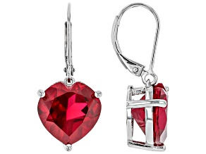 Red Lab Created Ruby Rhodium Over Silver Earrings 12.51ctw