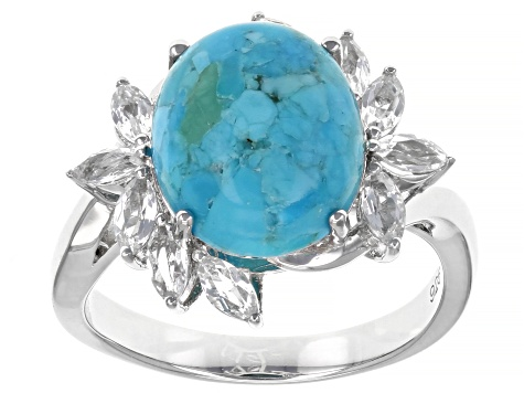 Blue Turquoise Rhodium Over Sterling Silver Ring .85ctw