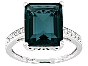 Teal Fluorite Rhodium Over Sterling Silver Ring 6.71ctw