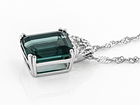 Teal Fluorite Rhodium Over Silver Pendant With Chain 6.16ctw