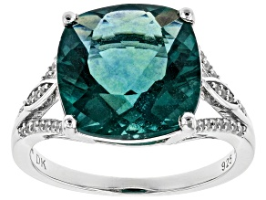 Teal Fluorite Rhodium Over Silver Ring 7.40ctw