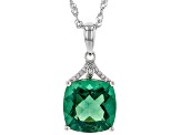 Teal Fluorite Rhodium Over Silver Pendant With Chain 7.29ctw
