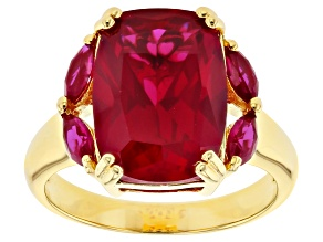Red Lab Created Ruby 18k Yellow Gold Over Silver Ring 7.79ctw