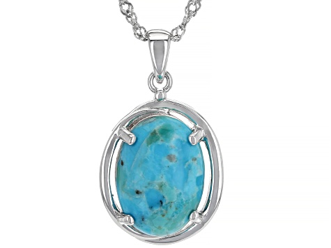 Blue Turquoise Rhodium Over Sterling Silver Solitaire Pendant With Chain