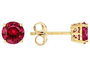 Red Lab Created Ruby 18k Gold Over Silver Stud Earrings 2.04ctw